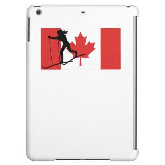 Bandera del canadiense del esquiador del campo a