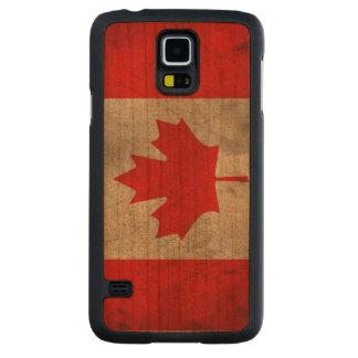 Bandera del canadiense del Grunge Funda De Galaxy S5 Slim Cerezo