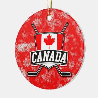 Bandera del canadiense del ornamento del árbol de adorno redondo de cerámica