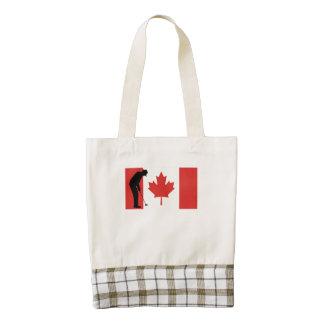 Bandera del canadiense del putt del golf bolsa tote zazzle HEART