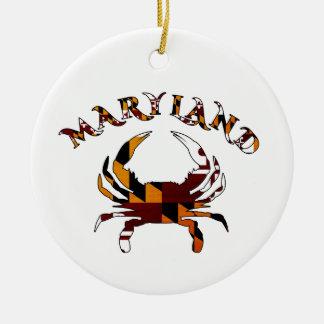 Bandera del cangrejo de Maryland Adorno Navideño Redondo De Cerámica