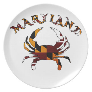 Bandera del cangrejo de Maryland Plato De Cena