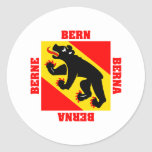 Bandera del cantón de Berna Suiza Pegatina Redonda