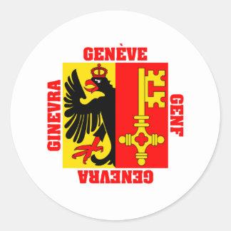Bandera del cantón de Ginebra Suiza Pegatina Redonda