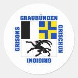Bandera del cantón de Graubunden Suiza Pegatina Redonda