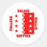 Bandera del cantón de Valais Suiza Pegatina Redonda