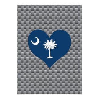 """Bandera del Carolinian del sur en un fondo nublado Invitación 5"""" X 7"""""""