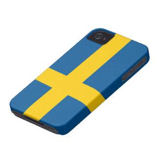 Bandera del caso intrépido de Suecia Blackberry iPhone 4 Case-Mate Coberturas
