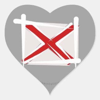Bandera del cepillo de Alabama Pegatina En Forma De Corazón