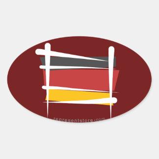 Bandera del cepillo de Alemania Pegatina Oval Personalizadas
