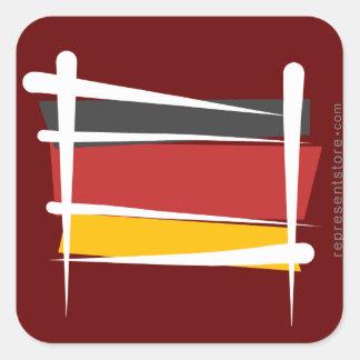 Bandera del cepillo de Alemania Calcomania Cuadradas