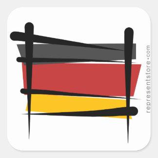 Bandera del cepillo de Alemania Calcomanias Cuadradas
