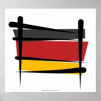 Bandera del cepillo de Alemania Póster