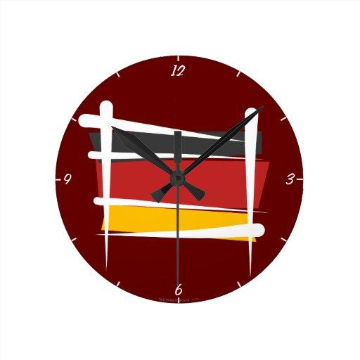 Bandera del cepillo de Alemania Reloj Redondo Mediano