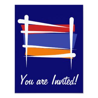 """Bandera del cepillo de Armenia Invitación 4.25"""" X 5.5"""""""