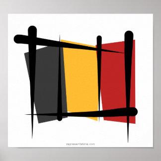 Bandera del cepillo de Bélgica Póster