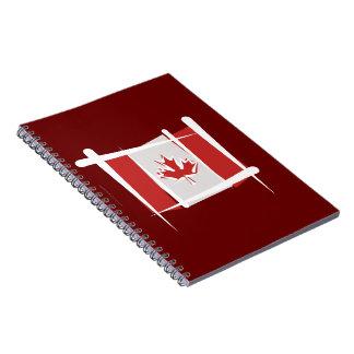Bandera del cepillo de Canadá Libro De Apuntes Con Espiral