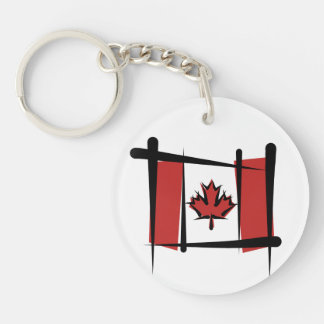 Bandera del cepillo de Canadá Llavero Redondo Acrílico A Doble Cara