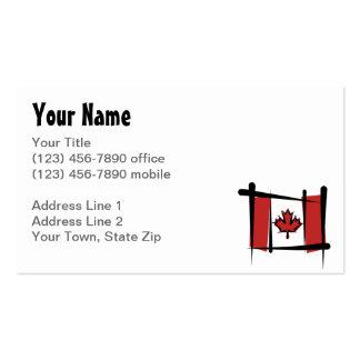 Bandera del cepillo de Canadá Tarjetas De Visita