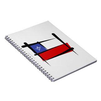Bandera del cepillo de Chile Libros De Apuntes Con Espiral