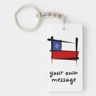 Bandera del cepillo de Chile Llavero Rectangular Acrílico A Doble Cara