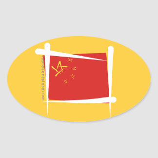 Bandera del cepillo de China Calcomanías De Ovaladas