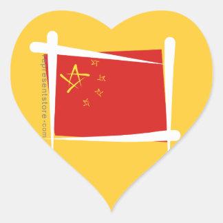 Bandera del cepillo de China Calcomanías Corazones Personalizadas