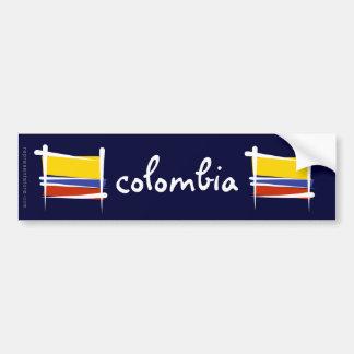 Bandera del cepillo de Colombia Etiqueta De Parachoque
