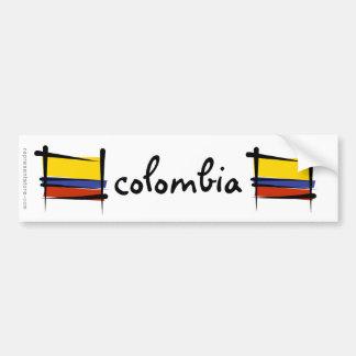 Bandera del cepillo de Colombia Pegatina De Parachoque