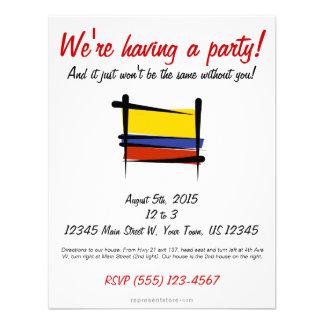 Bandera del cepillo de Colombia Invitaciones Personalizada