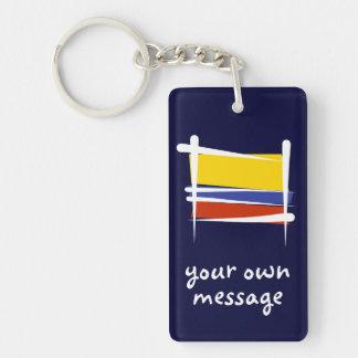 Bandera del cepillo de Colombia Llavero Rectangular Acrílico A Doble Cara