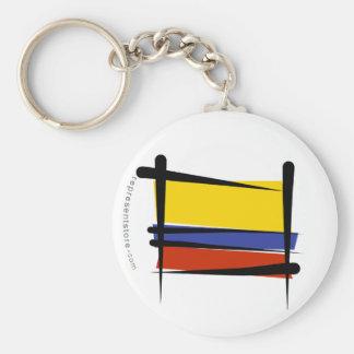 Bandera del cepillo de Colombia Llavero Redondo Tipo Pin
