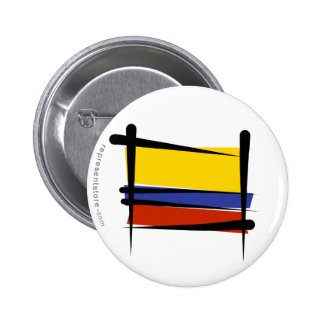 Bandera del cepillo de Colombia Pin Redondo De 2 Pulgadas