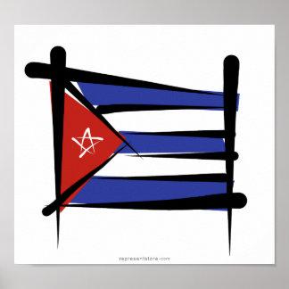 Bandera del cepillo de Cuba Posters