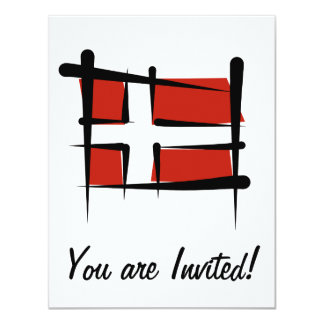 """Bandera del cepillo de Dinamarca Invitación 4.25"""" X 5.5"""""""