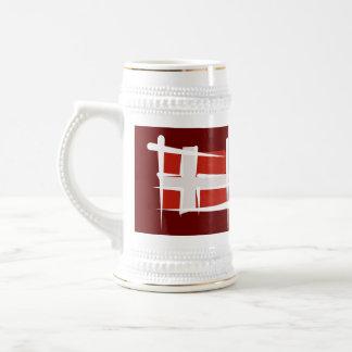 Bandera del cepillo de Dinamarca Jarra De Cerveza