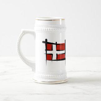Bandera del cepillo de Dinamarca Tazas De Café