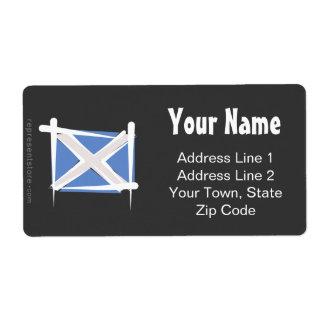 Bandera del cepillo de Escocia Etiqueta De Envío