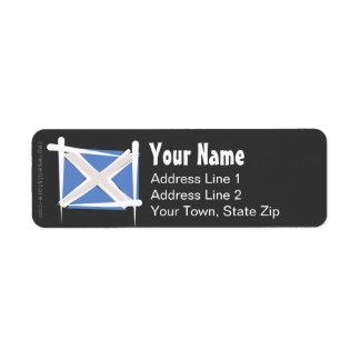 Bandera del cepillo de Escocia Etiqueta De Remite