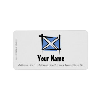 Bandera del cepillo de Escocia Etiquetas De Dirección