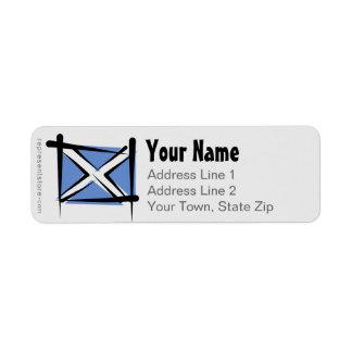 Bandera del cepillo de Escocia Etiquetas De Remite