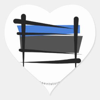 Bandera del cepillo de Estonia Pegatina En Forma De Corazón