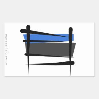 Bandera del cepillo de Estonia Pegatina Rectangular