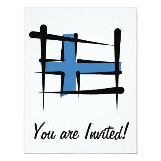 """Bandera del cepillo de Finlandia Invitación 4.25"""" X 5.5"""""""