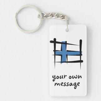 Bandera del cepillo de Finlandia Llavero Rectangular Acrílico A Doble Cara