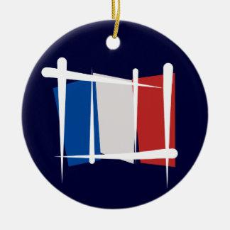 Bandera del cepillo de Francia Adorno Redondo De Cerámica