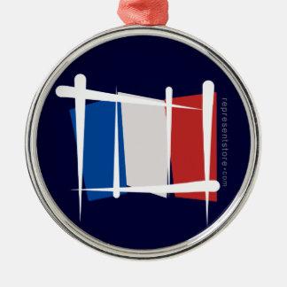 Bandera del cepillo de Francia Adorno Redondo Plateado