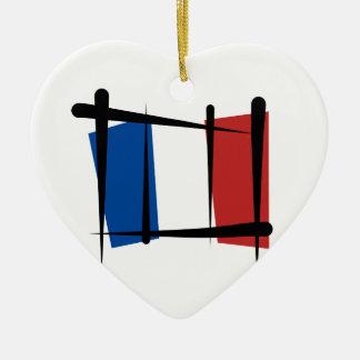 Bandera del cepillo de Francia Adorno De Cerámica En Forma De Corazón