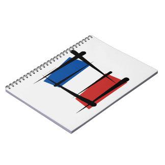 Bandera del cepillo de Francia Libro De Apuntes Con Espiral