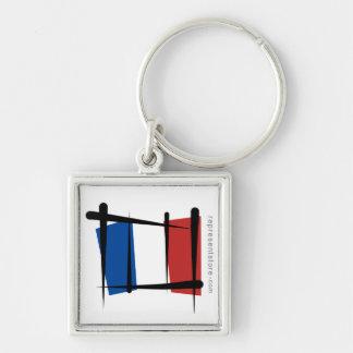 Bandera del cepillo de Francia Llavero Cuadrado Plateado
